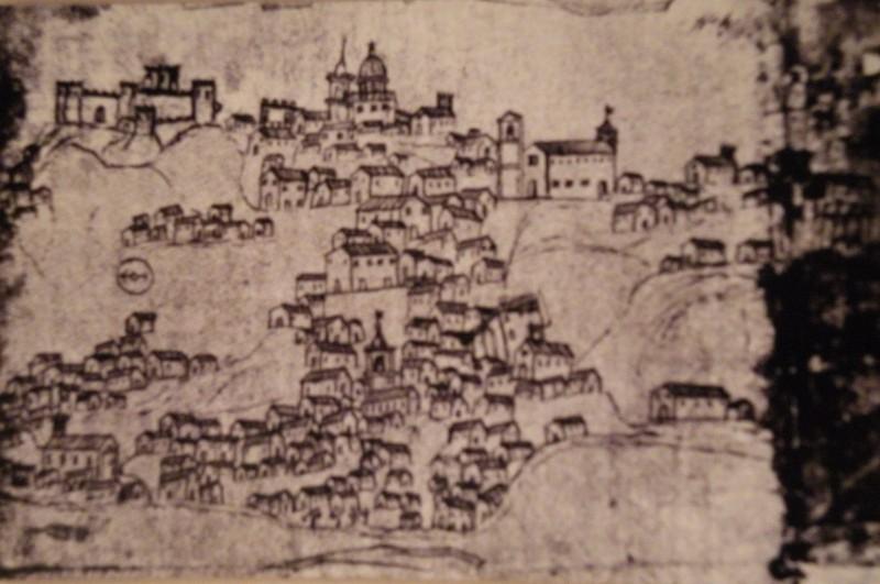 Disegno di Piazza Armerina Enna Sicilia di fine settecento